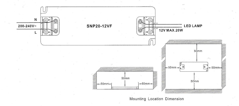 Fuente de Alimentacion LED Snappy Slim SNP20-12VF 20W 12V Tension Constante Transformador de Potencia Super Delgado