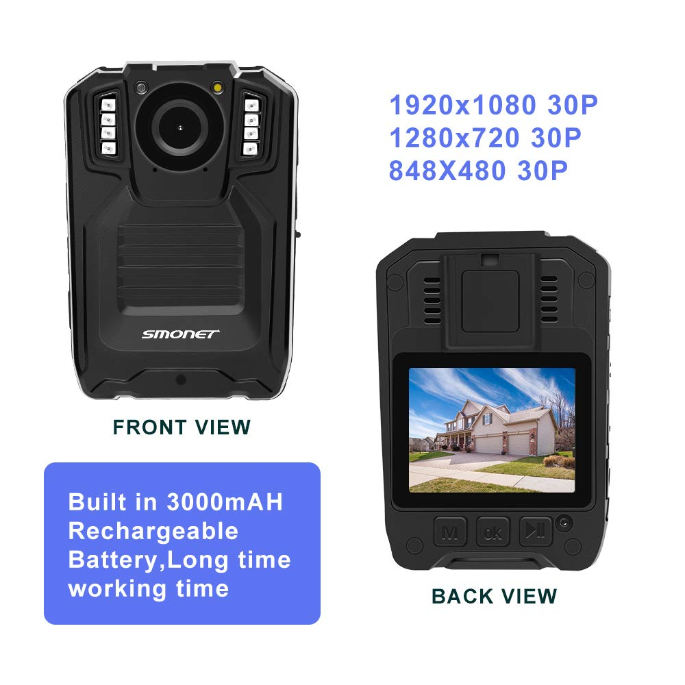 SMONET 【2019 New】 Body Camera with Audio, HD Police Body Camera(Built in 64GB),2 Inch Display Body Cameras for Law Enforcement, Body Worn Camera with Night Vision,Video Recorder,Waterproof by SMONET (Image #2)