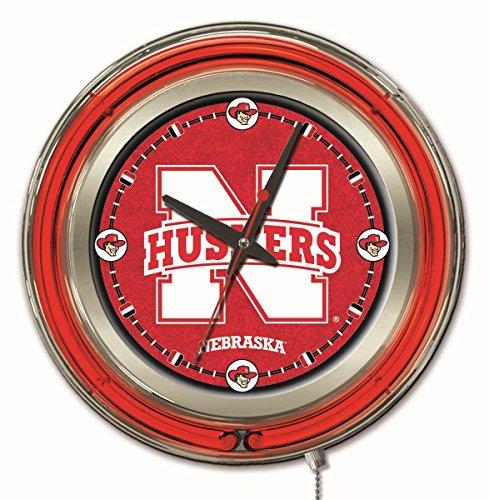- Holland Bar Stool Company NCAA Nebraska Cornhuskers Double Neon Ring 15-Inch Diameter Logo Clock