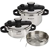 Wonderchef Easy Lock Stainless Steel Pressure Cooker Set, 2 Pieces, Silver