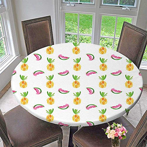 The Round Table Cloth Pineapple and Watermelon Fruit Themed Minimal Sketch Style Pastel Watercolor Pattern Print Multi for Birthday Party, Graduation Party 63