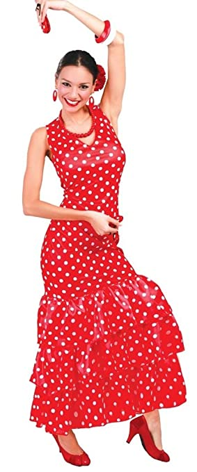 6d53819a4d2 Ladies Sexy Flamenco Dancer Red White Polka Dot Spanish International Fancy Dress  Costume Outfit (