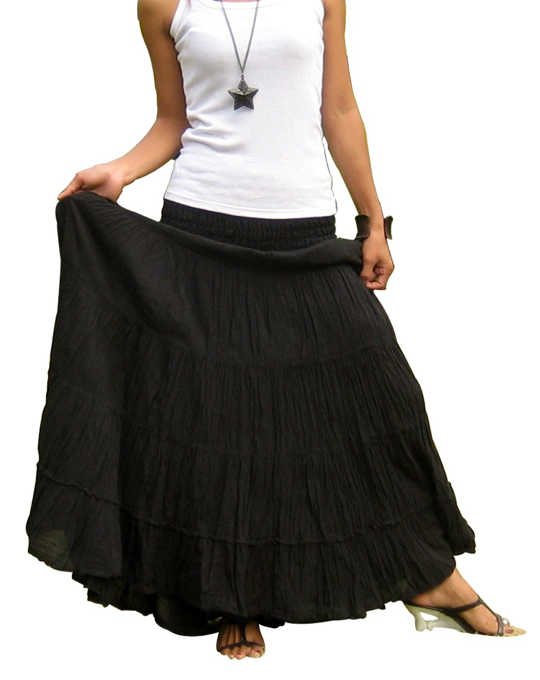 Billy's Thai Shop Women's Long Maxi Pleated Skirt with Elastic Smocked Waist One Size Fits Most. Black