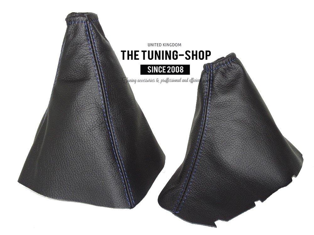 The Tuning-Shop Ltd Gear /& Handbremsmanschette schwarz Leder blau N/ähten