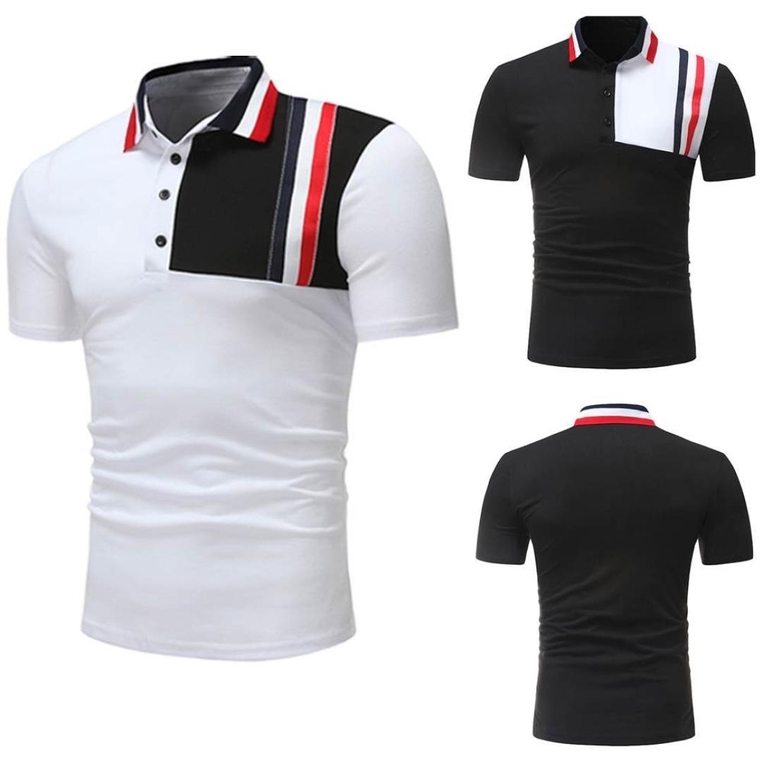 Camiseta de Deporte al Aire Libre para Hombre Que empalma Talla Grande Camiseta de Color Puro Camiseta de Manga Corta Blusa Tops