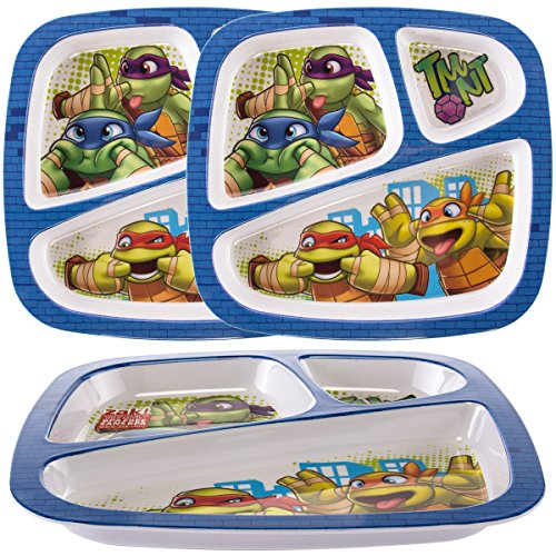 Zak (3 Pack) Teenage Mutant Ninja Turtles Plastic 3-Section Divided Kids Party (Turtle Plate)