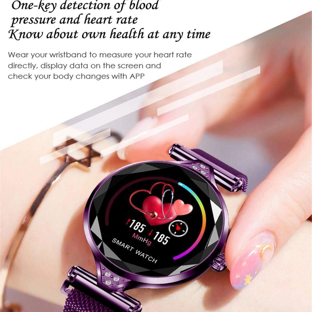 Amazon.com: H1 las Mujeres reloj inteligente Monitor de Ritmo cardíaco rastreador de ejercicios DAMA reloj de pulsera Bluetooth impermeable (Silver): ...