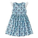 Jobakids Girls Summer Unicon Sleeveless Cotton Cute Print Casual Dress(Mermaid 6T)