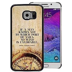 A-type Arte & diseño plástico duro Fundas Cover Cubre Hard Case Cover para Samsung Galaxy S6 EDGE (NOT S6) (Time Man Smart Deep Compass Quote)