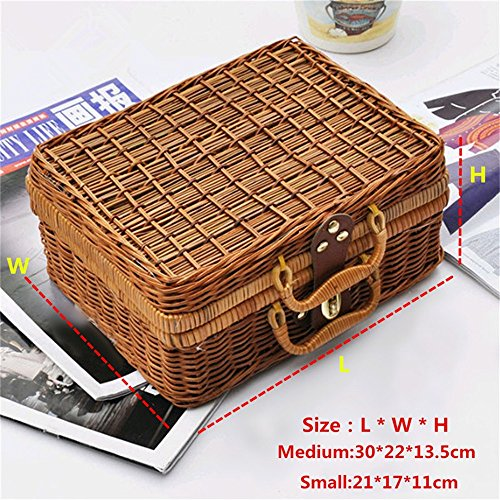 - Handmade Wicker Storage Case Travel Picnic Basket Vintage Suitcase Props Box Weave Bamboo Boxes Rattan Organizer by Xiaolanwelc (M)