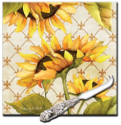 - CounterArt 'Sunflowers in Bloom' 8-Inch Square Glass Cheese Board with Cheese Knife