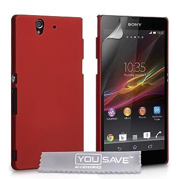Fundas Sony Xperia Z Carcasas Sony Xperia Z Rojo Espalda Híbrido Duro Caso