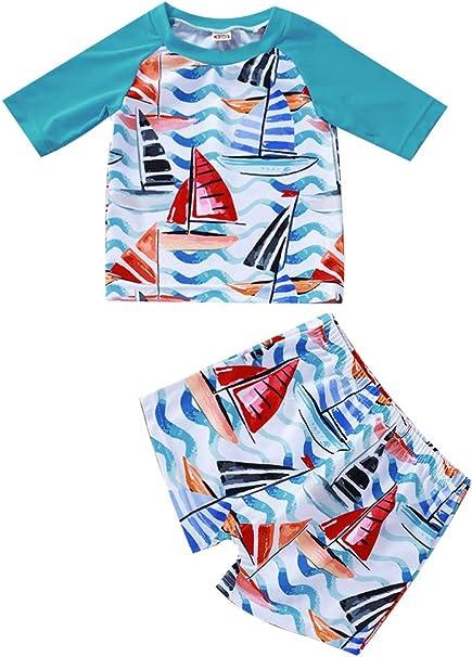 Baby Boys Swimsuit Two Pieces Rash Guard Swimwears Toddler Boy Swim Trunk  Set Sailboat Swimsuit Infant Boy Bathing Suit Swimwear Sets