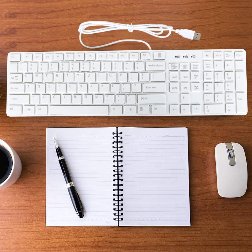 TRIXES Clavier USB Slim Blanc pour Windows ou Mac Mise en