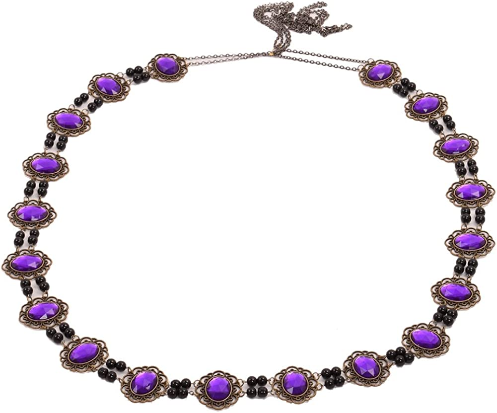 GRACEART Men's Tudor Necklace Chain of Office Livery Collar (Purple Cabochons)