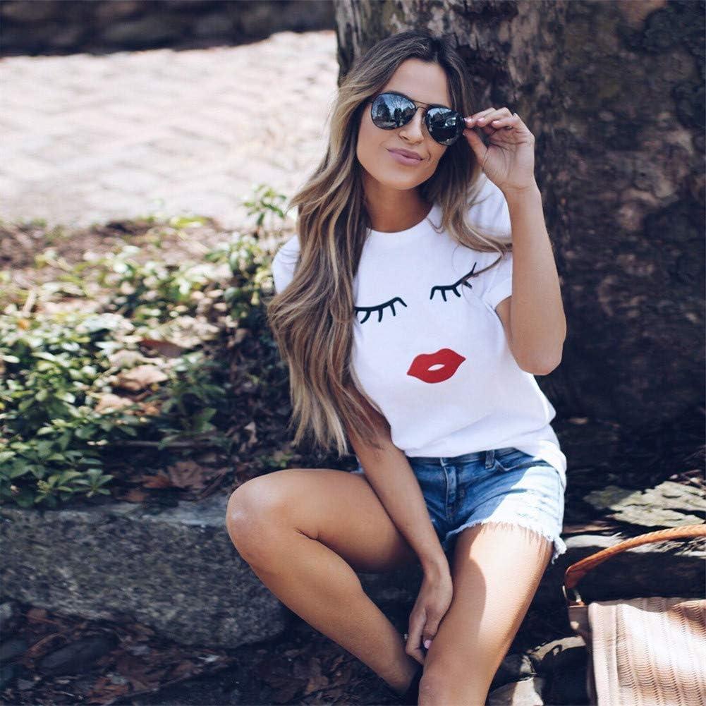 Kirbyates New Women Summer Eyelash Top Short Sleeve Blouse Casual Loose Tops T Shirts Tunic Tee for Ladies Blusas de Mujer