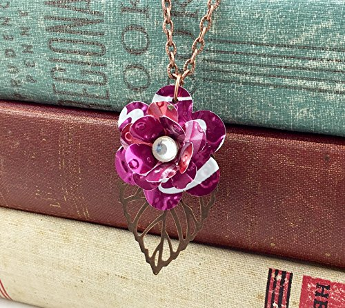 Mini Rose and Copper Leaf Necklace. Recycled Soda Can Art. Embossed. Cherry Coca Cola ()