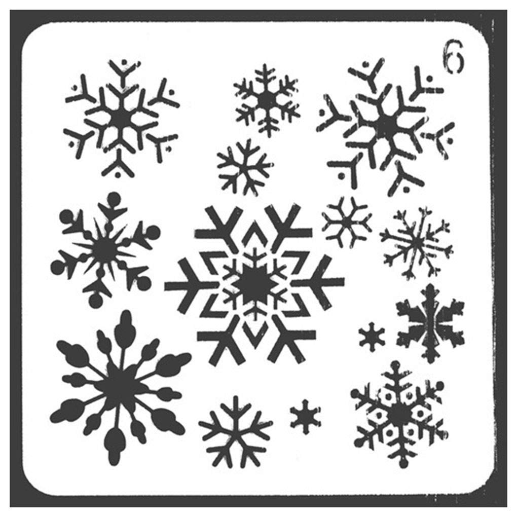 Lorsoul Christmas Series - DIY Plastic Printing Stencil Molds Template, Snowflakes Patterns, for Photo Album, Scrapbook, Stamping Spray Craft - 13 * 13cm