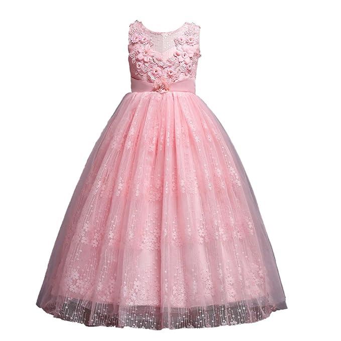 cee242077 ADHS - Vestido de fiesta para niñas, Rosado, 8-9 Años: Amazon.com.mx ...