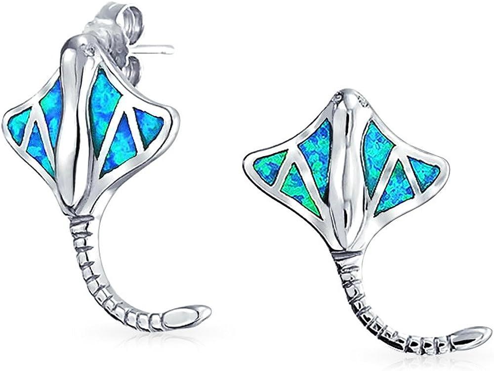 Inlay Azul Náutico Creado Opal Gran Stingray Pendiente De Boton Para Mujer 925 Octubre Piedra De Nacimiento
