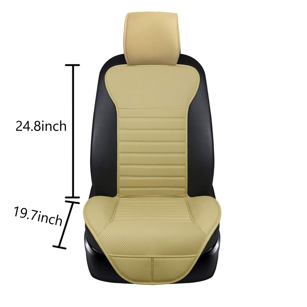 Black Big Ant Edge Wrapping 2pc Car Front Seat Cushion Cover Pad Mat for Auto Supplies Office Chair with PU Leather