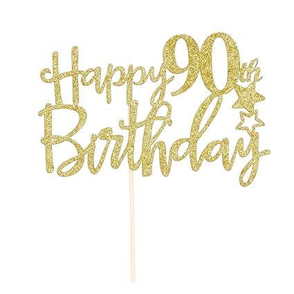 Amazon Gold Giltter Happy 90th Birthday Cake TopperHello 90