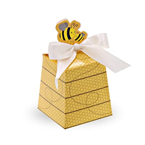 Sumdirect 50pcs Paper Beehive Gift Box With Ribbons Baby Favors Candy Boxes For Baby Shower Birthday Decorations Yellow