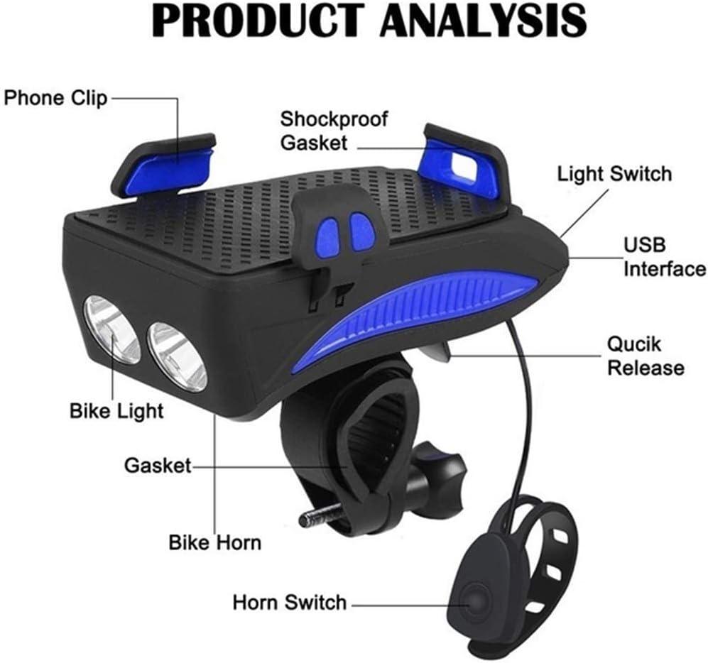 Bao Rui Sheng lampe de v/élo rechargeable usb support de t/él/éphone pour v/élo lampe frontale avec 3 modes d/éclairage id/éale pour la conduite de nuit