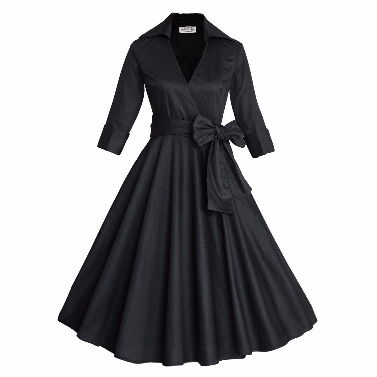 What Did Women Wear in the 1950s? Samtree Womens 50s Style Half Sleeves Deep V Neck Vintage Swing Polka Dot Dress $27.99 AT vintagedancer.com