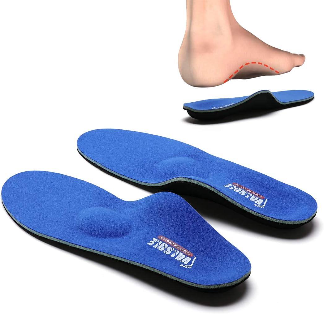 VALSOLE Plantillas Ortopédicas soportes de arco y talones la absorción de choque- para el dolor de talón, pie plano, Fascitis Plantar, dolor de rodilla y espalda (43-44 EU (280mm), blue-v7b)