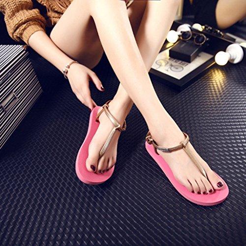Top-Sell Roman No-Slip Thong Zapatos Zapatillas T-Strap Bloquear Verano Playa Flip Flops Sandalias Planas Watermelon