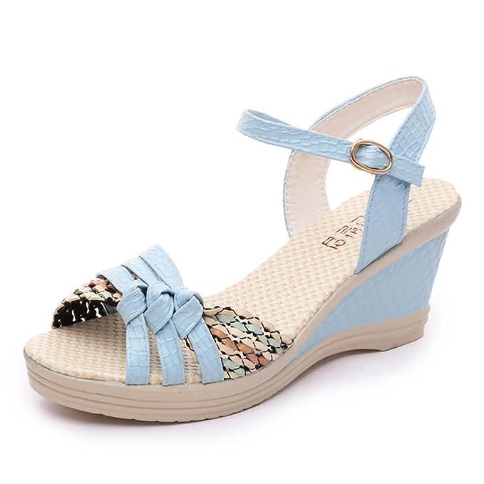 Scarpe con Zeppa Donna estive, UOMOGO? Sandali con Zeppa Donna Pelle Scarpe Comfort Peep Toe Camminare Piattaforma (CN:36, Blu)
