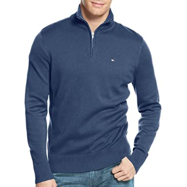76e16915 Tommy Hilfiger 1/4 Zip Jumper Classic Insignia Blue (Medium): Amazon ...