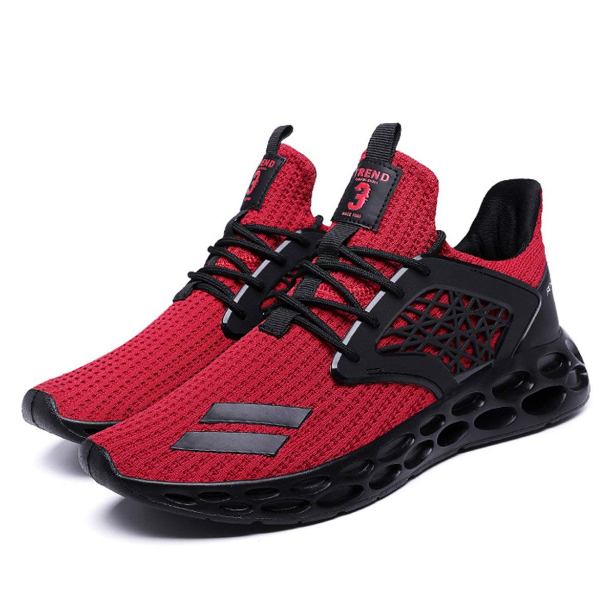 Fanboy Men's Pu Breathable Sports Running Shoes Sneakers Ultra Lightweight Breathable Mesh Street Sport Gym Running Walking Shoes
