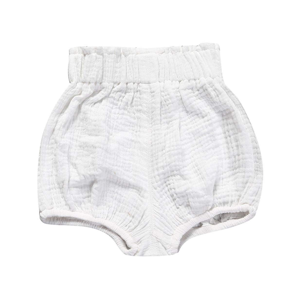 JELEUON 3 Pack of Little Baby Girls Boys Cotton Linen Blend Cute Bloomer Shorts