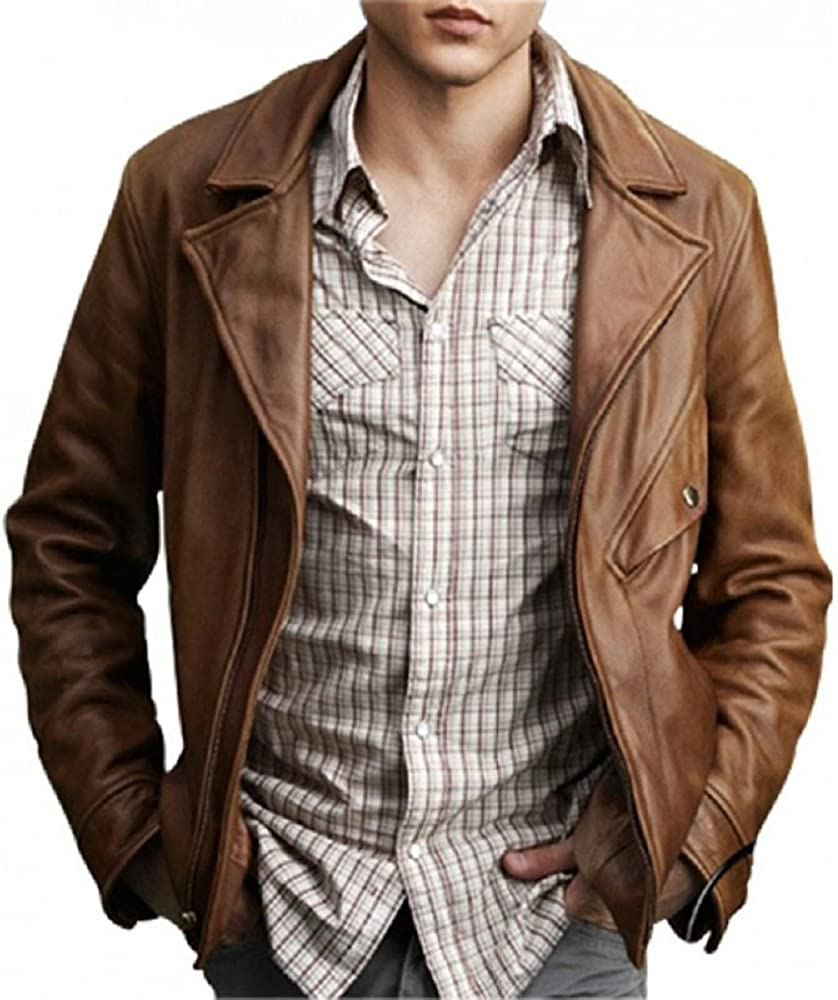 NBENTERPRISES Mens Brown Lambskin Leather Ethan wate Leather Jacket