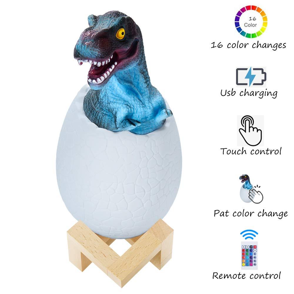 ویکالا · خرید  اصل اورجینال · خرید از آمازون · Dinosaur Night Light,3D Dinosaur 16 Color Change LED Pat Light with Stand Remote,Pat and Touch Control Rechargeable Birthday (16 Colors) wekala · ویکالا
