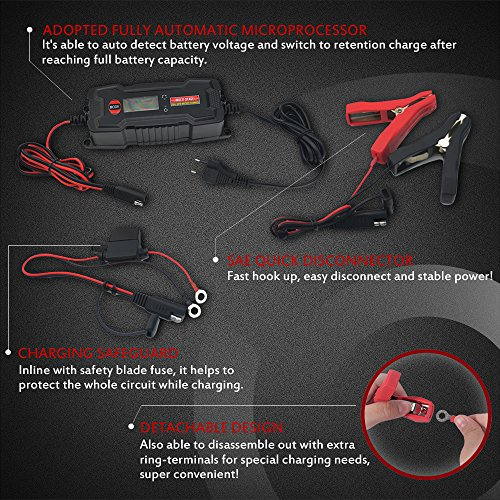 MICTUNING MULTI-STAGE LCD Display 6V/12V 0.8A/3.8A Smart Fully Automatic Battery Float Charger/Maintainer with Inline Blade Fuse, SAE Quick Connector by MICTUNING (Image #3)