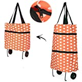 Collapsible Trolley Bags, Merssyria Reusable Collapsible Trolley Bag with Wheels Foldable Shopping Cart
