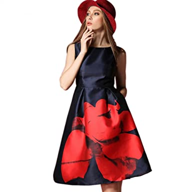Yomeni Womens Plus Size Vintage Sleeveless Print Fit and Flare Cocktail Dress: Amazon.co.uk: Clothing