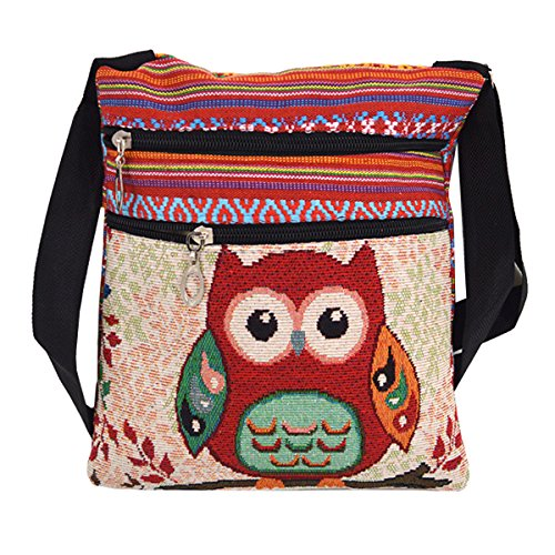 LABANCA Girls Canvas Mini Shoulder Bag Cell Phone Purse Bag Boho Owl Printing Crossbody Bag Pattern01 for $<!--$8.99-->