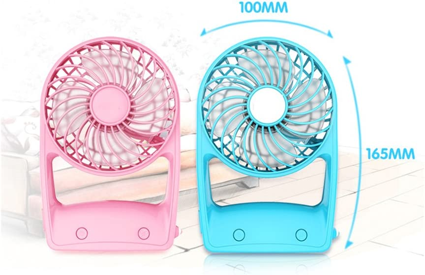 Color : Pink Mini Portable Handheld light electric fan mute rechargeable battery for study office library dormitory
