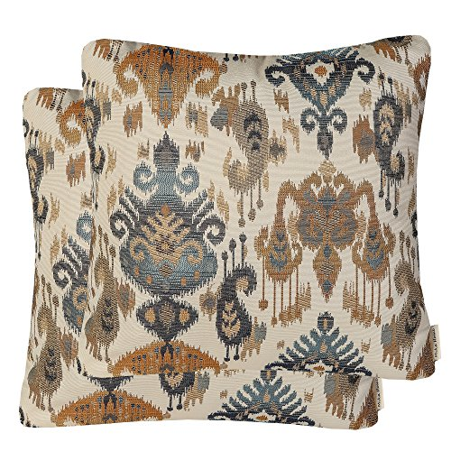 Mika Home Pack of 2 Jacquard Damask Accent Throw Pillow Cases Cushion Covers for 20X20 Inserts Cream Gold Blue
