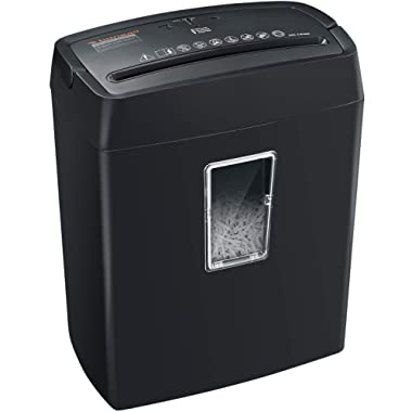 Bonsaii 6-Sheet Cross-Cut Paper Shredder, High-Security P4 Home Office Shredders with 3.5 Gallons Wastebasket Capacity and Large Transparent Window, Black (C204-C)
