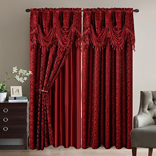Elegant Home Window Curtain Drapes All-in-One Set with Valance & Sheer Backing & Tassels for Living Room, Bedroom, Dining Room, and Sliding Doors - Sandra (Burgundy) by Elegant Home Decor