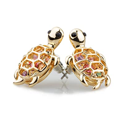 Pair of Small Turtle Sterling Silver Stud Earrings With Clear Crystal Stones 6OvpsPg47