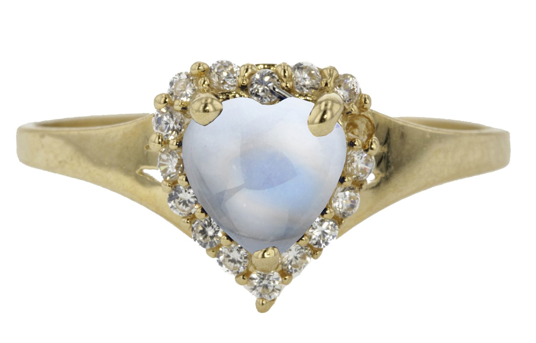 10k Yellow Gold Cabochon Natural Genuine White Moonstone Heart Halo Promise Ring Size 8 by Sac Silver