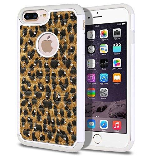 Leopard Skin Phone Protector Case - FINCIBO iPhone 7 Plus/8 Plus Case, Dual Layer Shock Proof Hybrid Hard Protector Cover Anti-Drop TPU Rhinestone For Apple iPhone 7 Plus 2016/iPhone 8 Plus 2017 5.5 inch - Leopard Spots Skin Pattern