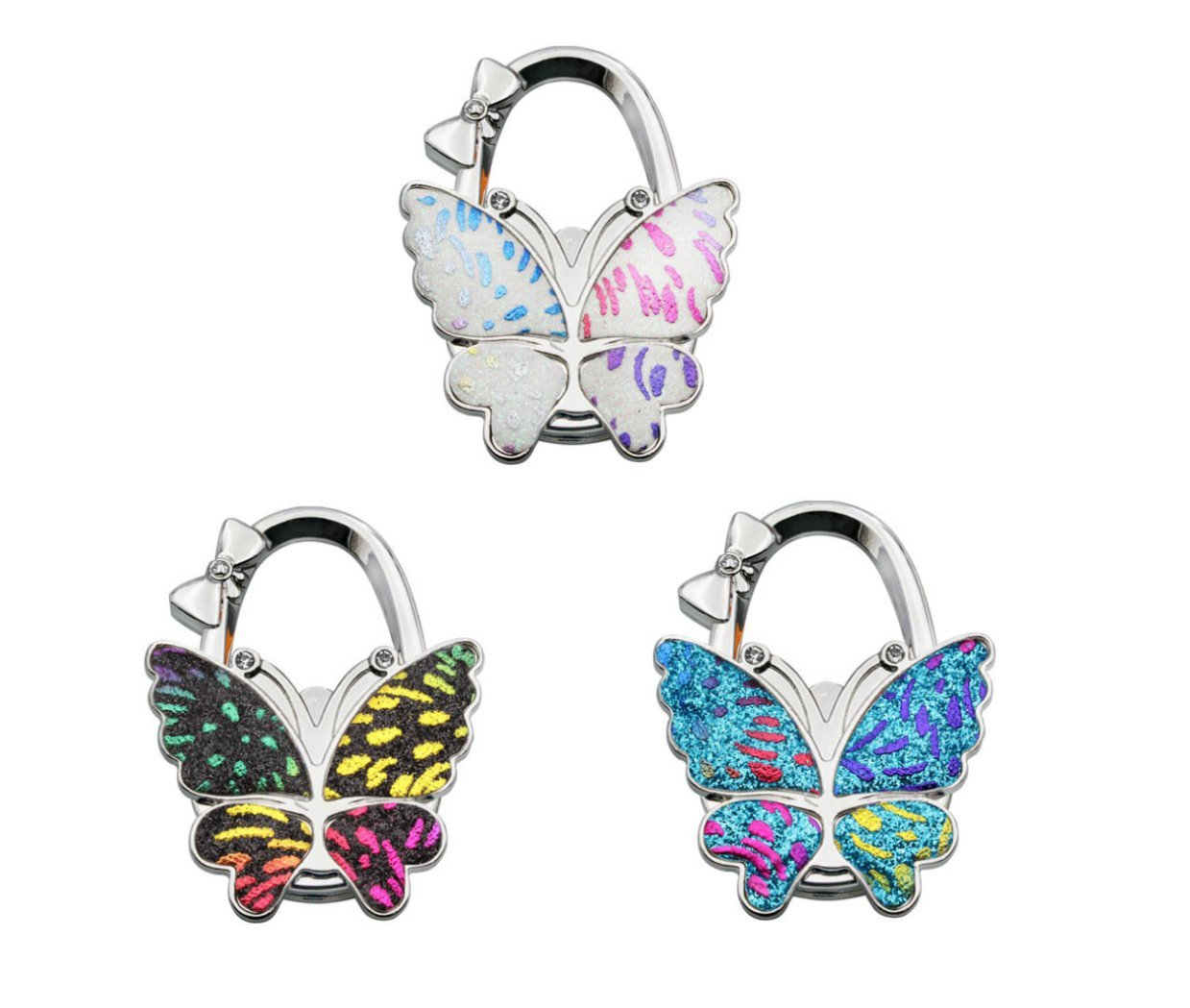 3PC Butterfly Purse Handbag Hook Folding Hanger for Women Gift Foldable Shoulder/Handbag/Backpack Purse Hangers Table Chair Holder Hook