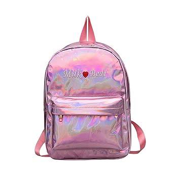 Eeayyygch Mochila para Mujeres Mochilas Daypacks para niñas Bolso Escolar para Mujer Bolsos holográficos de Cuero